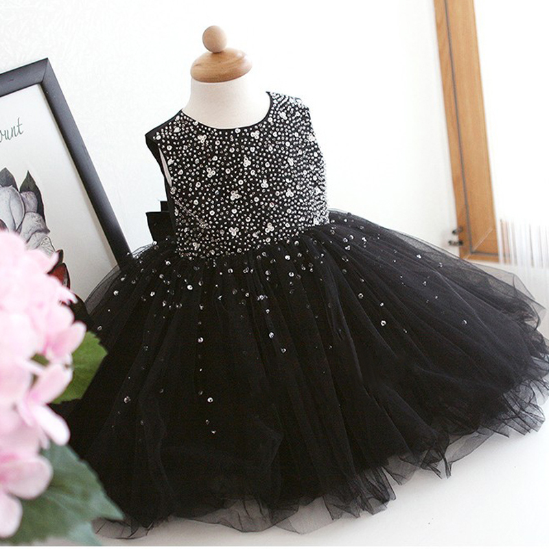 Bling Crystals Black Girls Dresses with Bow Sleeveless Ball Gown O-Neck First Girls Communion Gown Girls Birthday Dress все цены