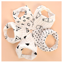Baby bib Four-layer Cotton Gauze Black and White Cartoon Bib Printing Childrens Snap Triangle Water tow