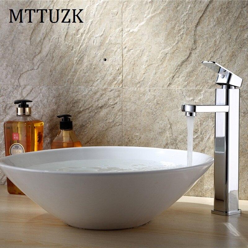 MTTUZK латунный хромированный кран для ванной комнаты, квадратный кран для раковины, кран с одной ручкой для горячей и холодной воды, кран на бо