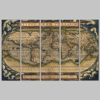 5pcs Set Big Size Retro World Maps Picture Decoration Canvas Painting Wall Art Map Poster Print