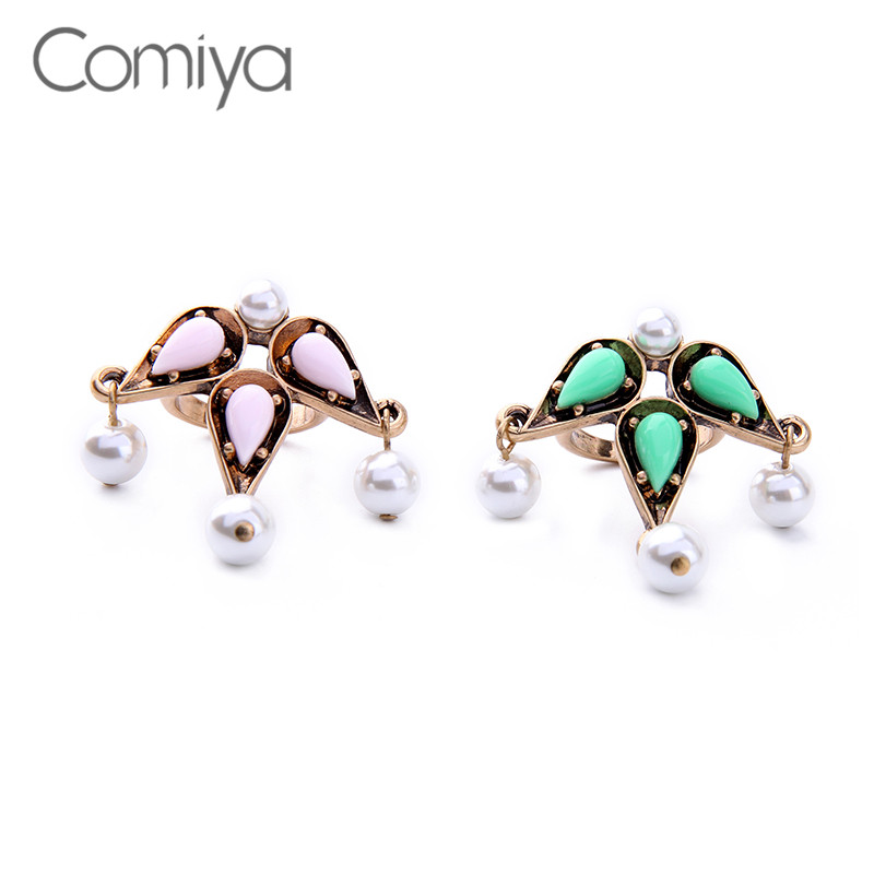 Comiya Imitation Pearls Pendants Dangle Charm Gold Color Rings Jewelry For Women Resin Mosaic Anillos Mujer Bague Feminino Ring