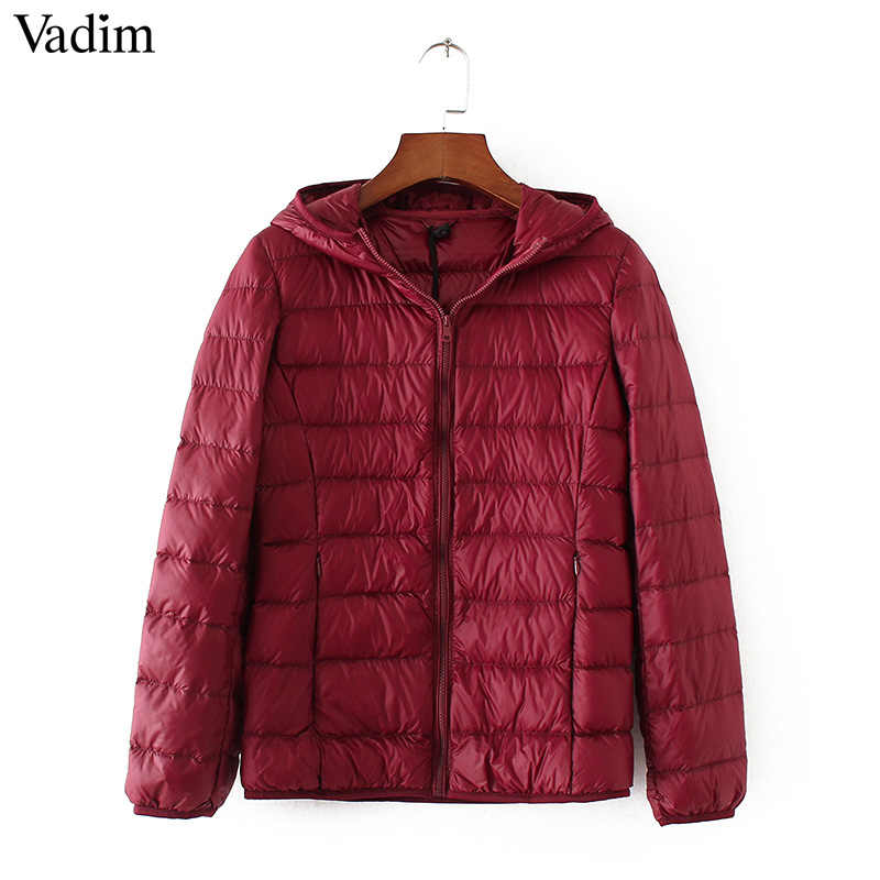 Vadim frauen ente unten mäntel ultra licht mit kapuze jacken solide farbe warm schlank jacken taschen zipper winter mantel outwears ZC072