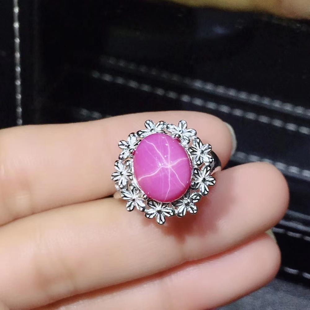 Anneau de pierre gemme rubis étoile naturelle rose pour les femmes avec de l'argent 5