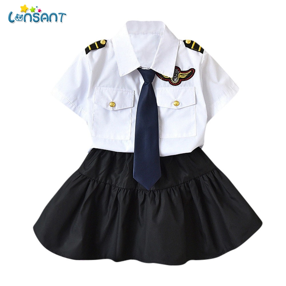LONSANT  Children Kid  Girls Clothes Set Navy Style Necktie T-shirt Tops Skirt Tops+Skirt Formal Clothes Fashion Summer Set Одежда