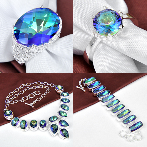 Fashion Luckyshine New Handmade Hot Sell Silver Plated Jewelry Set Colorful Mystic Created Topaz Jewelry Sets Free Shipping