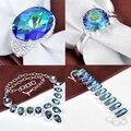 Moda luckyshine new handmade venda quente de prata banhado conjunto de jóias conjuntos de jóias de topázio místico colorida criado frete grátis