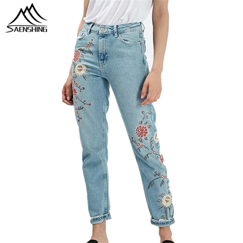 New Flower embroidery jeans female Light blue casual pants capris 2016 autumn winter Pockets straight jeans women bottom women jeans vintage flower embroidery high waist pocket straight jeans female bottom light blue hole casual pants capris new
