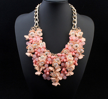 Big statement maxi necklace aliexpress hot selling jewelry 4 color Beaded flower Gold choker colar Necklace for women jewelry