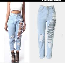 free shipping New Fashion women jeans woman Light Blue Solid Novelty Skinny Full length ripped jeans