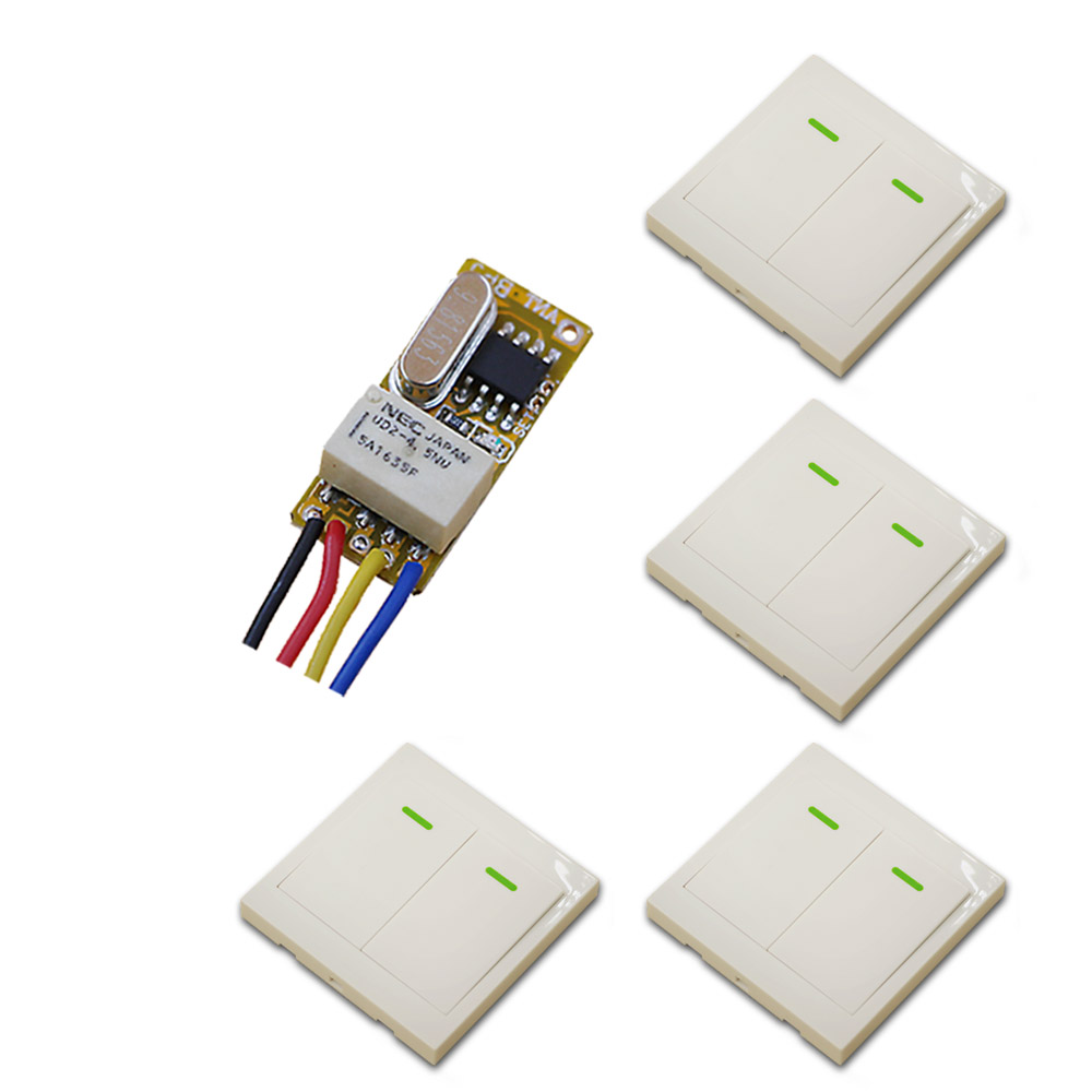 315/433MHZ DC3.6V 5V 6V 7.4V 9V 12V 1CH Wireless Remote Control Switch System Receiver & 4*White Wall Panel Sticky Remote ac 220 v 1ch wireless remote control switch system receiver wall panel remote transmitter sticky remote smart home switch