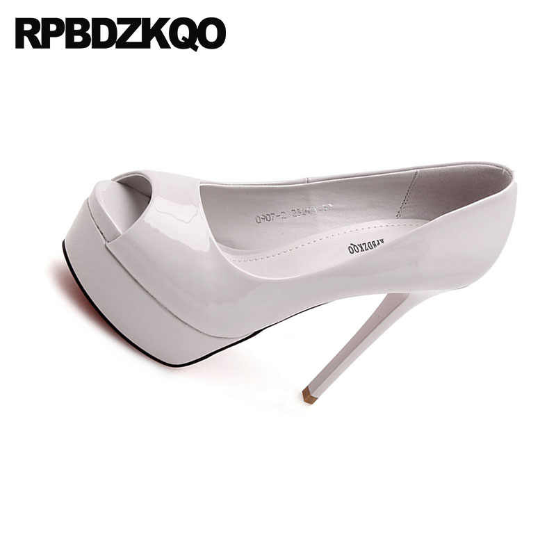 8695393cc06 ... Sexy Patent Leather Pumps Women Stiletto High Heels Fish Mouth Nude  Platform Shoes 12cm 5 Inch ...