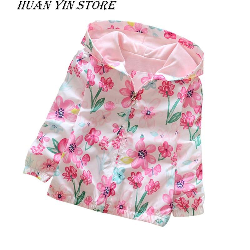 2017 Girl Clothing Baby Girl Flowers Hoodie Jacket Autumn Flower Pattern Zipper Jacket Coat Apring 2-7Y