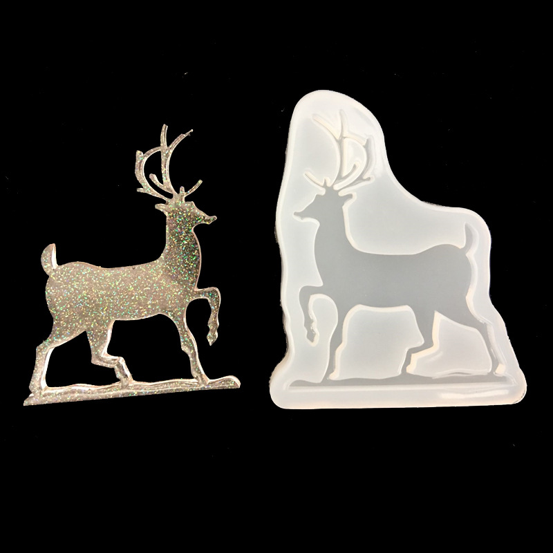 Christmas Deer Pendant Necklace Beads Casting Crystal Molds Clear Epoxy Silicone Resin Liquid Mold DIY Jewelry Making Craft Tool