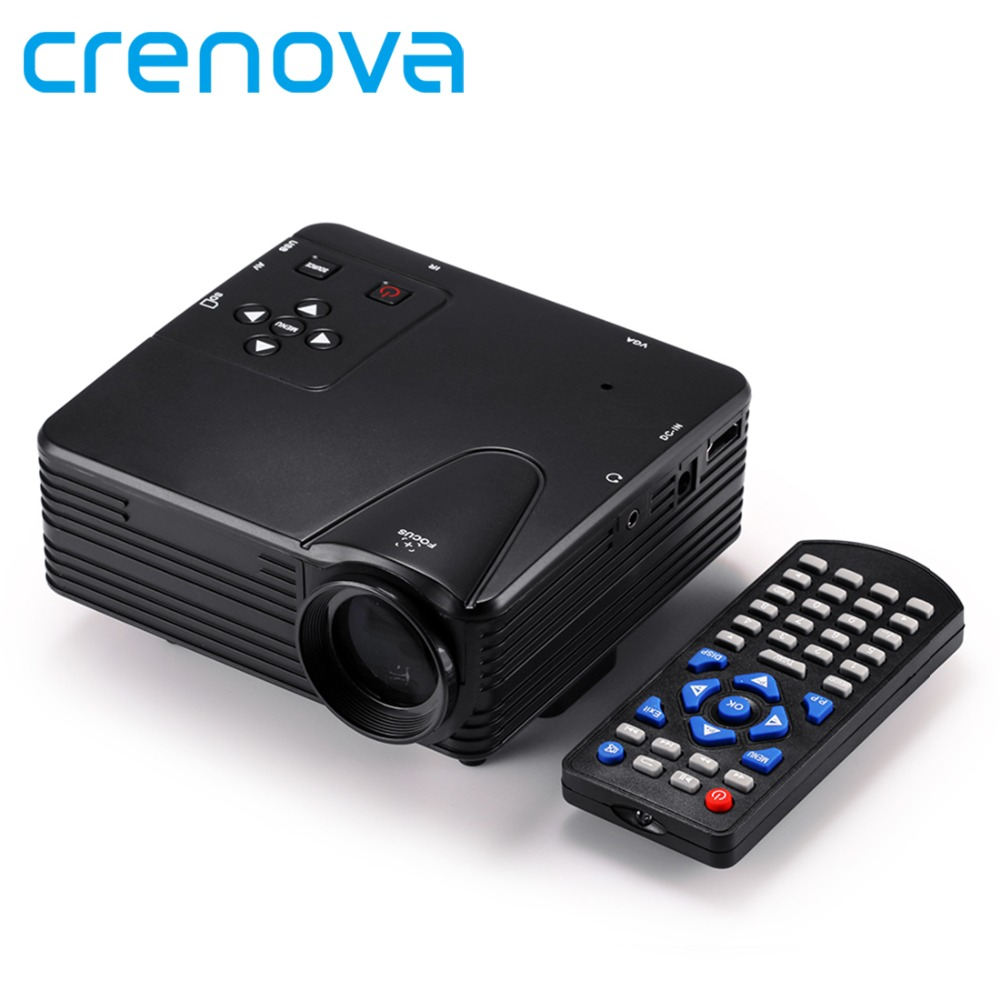 Crenova Full HD Home Theater Cinema LCD Image System 100 Lumens Mini LED Projector with AV/VGA/SD/USB/HDMI for DVD PC mini portable home cinema theater 1080p multimedia usb led projector laptop av vga sd hdmi us adapter
