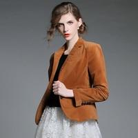 Autumn Velvet Jacket Suits Blazer Women 2018 Notched Collar Blazers Ladies Blazer Coat Jacket Slim Button OL Blaser Mujer Top
