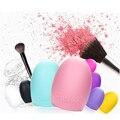 Nuevo 1 Unids Retail Verde Púrpura Huevo Cepillo para la Limpieza de Pinceles de Maquillaje de Silicona Brushegg Dedo Guante de Limpieza Herramientas de Belleza Cosmética