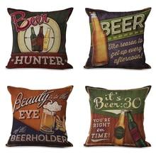 CUSCOV  NEW Fashion Beer theme Cushion cover european style pillow case thick 3D print decorative cotton Liene