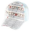 2015 New High quality Full Crystal Skull Colorful Pearl Denim Baseball Cap Bling hip hop Adjustable Snapback Hat for women
