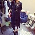 Ифань 2016 Осень Женская Мода Пиджаки Повседневная Крючком Вязаные blusas Длинным рукавом длинные Свитера Кардиганы женские chaqueta