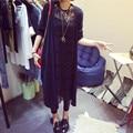 2017 Новая Коллекция Весна Мода Женщин Пиджаки Повседневная Крючком Вязаные blusas Длинным рукавом длинные Свитера Кардиганы женские chaqueta