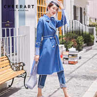 Cheerart Autumn 2018 Blue Trench Coat Women Epaulet Duster Coat Ladies Long Trench Coat Slim Overcoat Female Fashion