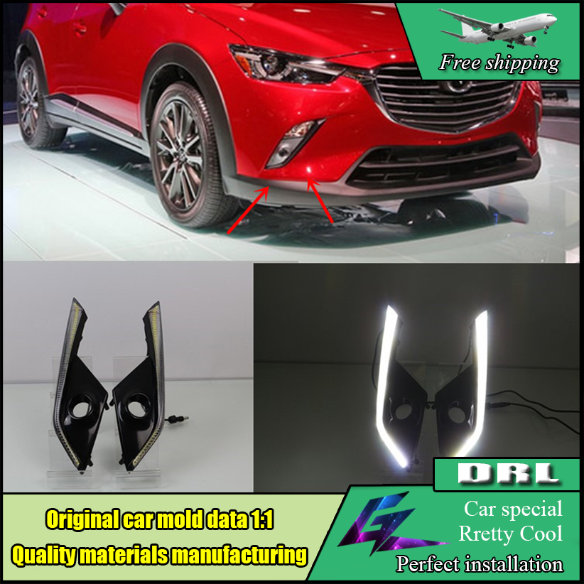 Car styling High quality Waterproof 12v LED DRL Daytime Running Lights with fog lamp hole For Mazda CX-3 CX3 2016 2017 edelbrock 8059 solenoid and bracket
