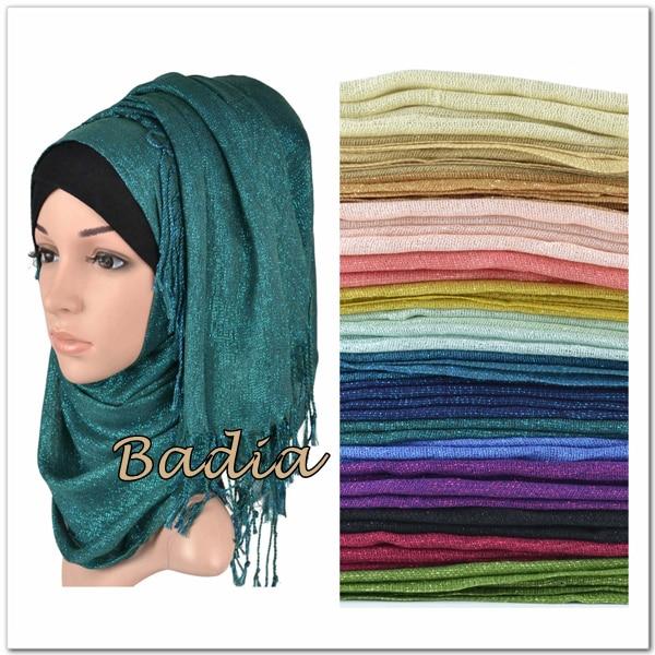 One Piece Shimmer Solid Plain Glitter Hijab Scarf Shinny Metallic Long Tassel Muslim Viscose Lurex Shawl Islamic Head Wraps