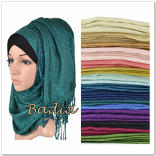 one piece shimmer solid plain glitter hijab scarf shinny metallic long tassel muslim viscose lurex shawl islamic head wraps