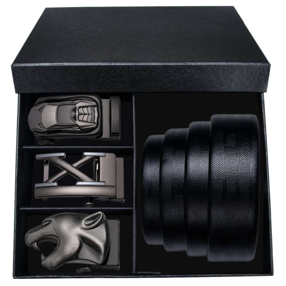 Famous Brand Men's   Belts   For Men High Quality 3PCS Automatic Buckle Male 110-160CM Strap Genuine Leather   Belt   With Gift Box