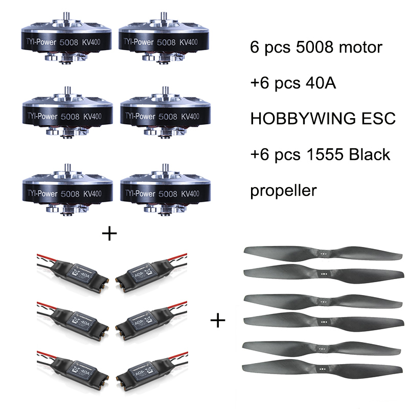 6pcs 5008 400KV Brushless Motor +6pcs 40A ESC +6pcs 1555  Propeller for RC Plane 4pcs 6215 170kv brushless outrunner motor with hv 80a esc 2055 propeller for rc aircraft plane multi copter