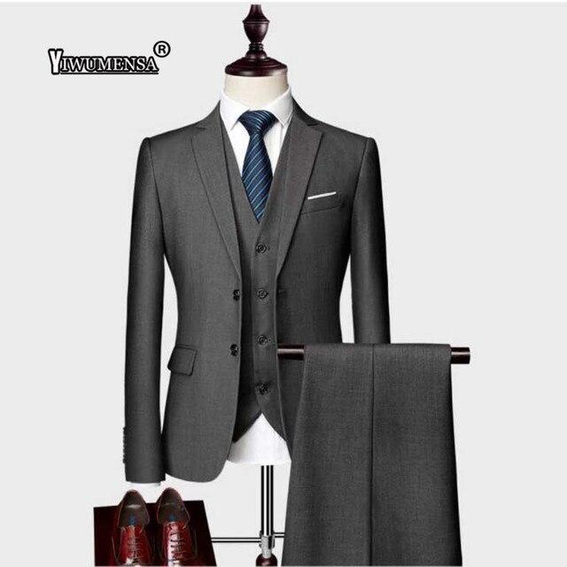 Yiwumensa Terno Masculino Slim Fit hombres trajes de boda negocio clásico  del novio traje por encargo eb2c79a5131
