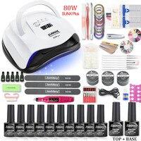 Led UV Nail Lamp Manicure Set Choose 10 Color Gel Nail Polish Set Varnish Acrylic Kit UV Builder Gel Electric Nail Drill Machine