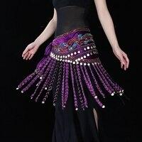 Di alta Qualità Tribale Danza Ricamo Usura Cintura con Monete in Velluto Avvolgere Sciarpa Lunga Nappa Donne Danza Del Ventre Hip Sciarpa
