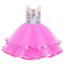 цена на Kids Dress For Girls Unicorn Party Princess Dress Vestido Unicornio Girl Flower Birthday Party Tutu Dress Children Purim Costume