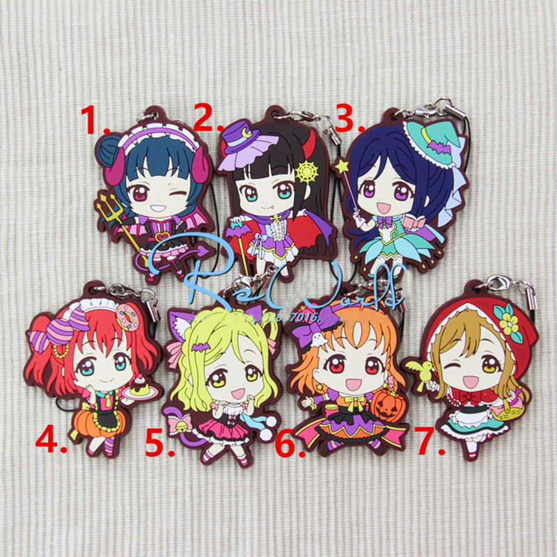 1pcs Anime love live LoveLive Sunshine Aqours Ohara Mari Aozora Resin Rubber Keyrings Pendant Keychain De Llaveros ...