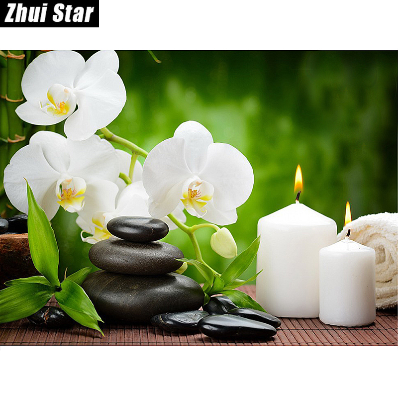 "New Full Square Diamond 5D DIY Diamantmålning ""Orchid Candles Stones"" Broderi Cross Stitch Rhinestone Mosaic Painting Gift"