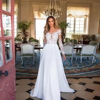 Smileven Long Sleeves Wedding Dress 2019 White Ivory Beach Bride Dresses Train Cheap Elegant Wedding Bridal Gowns 2019