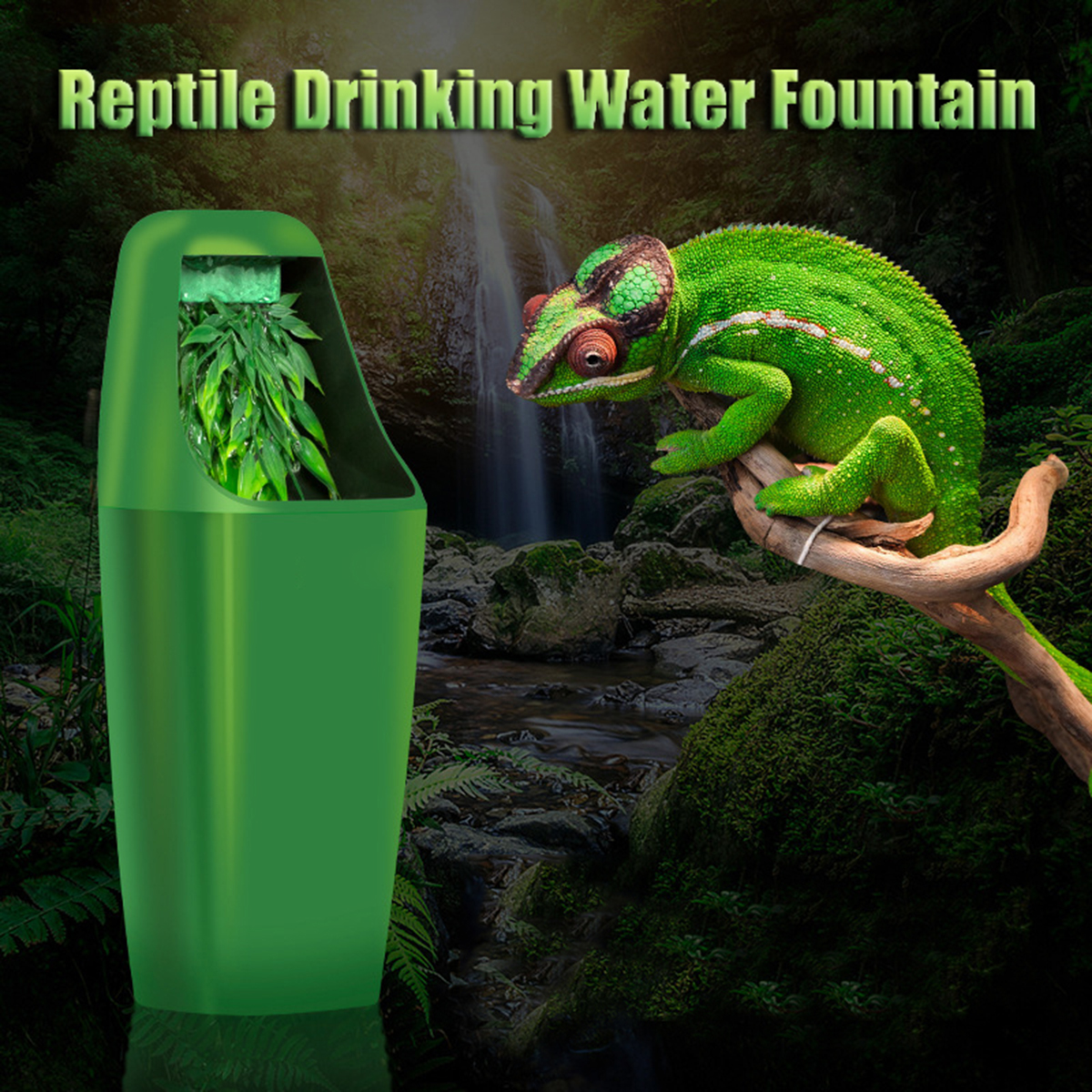 11x27cm Abs Automatic Reptile Water Drinking Filter Feeding Drinkers Tools Drinking Water Fountain Lizard Chameleon Amphibian