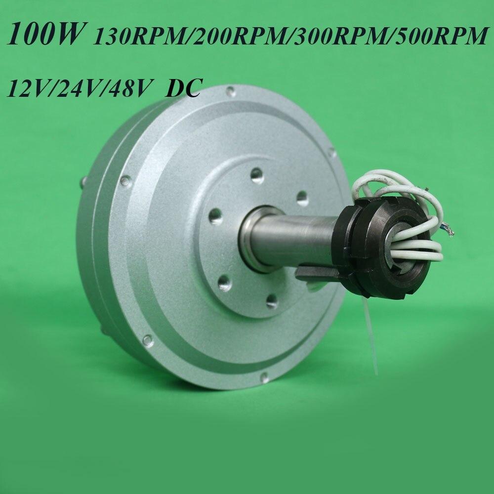 FLTXNY 100W 12V 24v 48v sans noyau ac générateur d'aimant Permanent de terres rares à bas régime 130/200/300/500 RPM 0.1kw