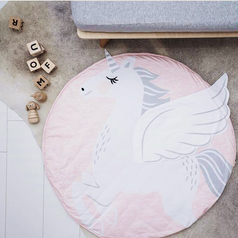 Cartoon Animals Baby Play Mats Pad Toddler Kids Crawling Blanket Round Carpet Rug Toys Mat For Children Room Decor