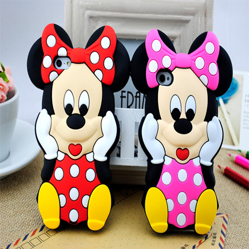 Arrival Lovely Cute Cartoon 3D Mickey Mouse Minnie Soft Rubber Silicone Cover Case iPhone 5S 4 4S - ShenZhen Kala Trade Co., Ltd. store