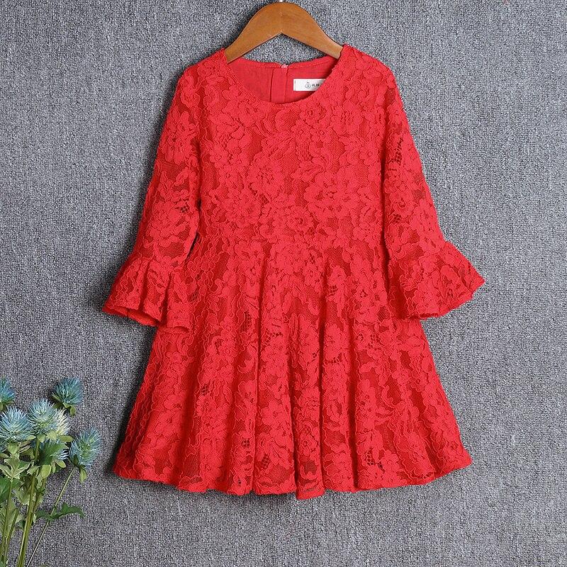 Printemps enfants vêtements dentelle rouge jupes décontractées mère et fille robe maman bébé filles vêtements famille look correspondant tenues