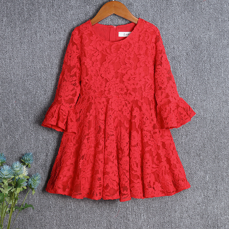 Spring children clothing red lace casual skirts mother and daughter dress mommy baby girls clothes family look matching outfits