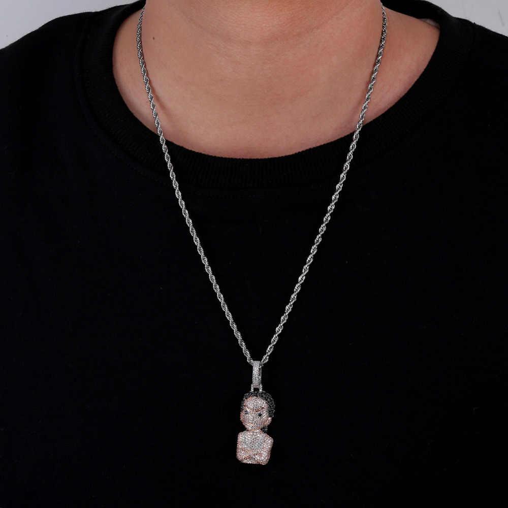 จิงโจ้ใหม่ Sliver Boondocks สาวจี้สร้อยคอ Cubic Zircon Iced Out Chain ผู้ชายผู้หญิง Hip Hop เครื่องประดับของขวัญ