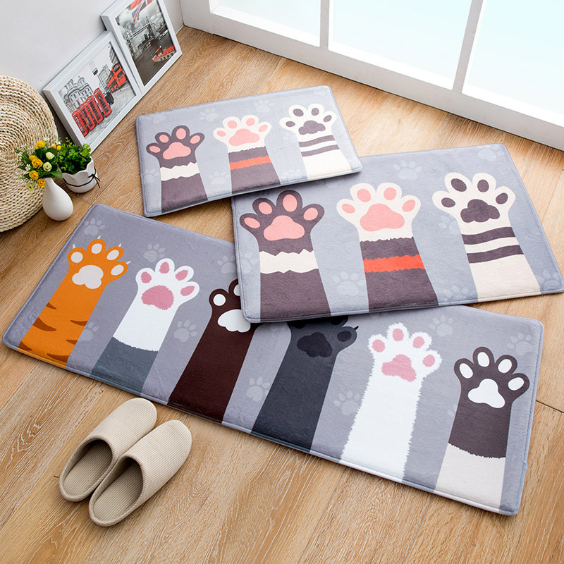 7style Household Strips Artoon Animal Printed Cat Bathroom Door Living Room Long Carpet Floor Mat Non-slip Soft Suction Play Mat