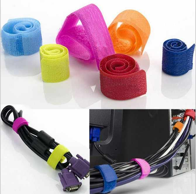 735fac0c5546 ... KEITHNICO 20Pcs Cable Ties Wrapped Reusable Adhesive Strap Organizer  USB PC TV Cord Wire Plug Clip ...