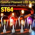 4 Colores Real vatios LLEVÓ el Bulbo Edison Vendimia E27 LED Filamento Vendimia luz LLEVÓ La Lámpara Del Bulbo 220 V 110 V Retro Luz de las Velas 8 W