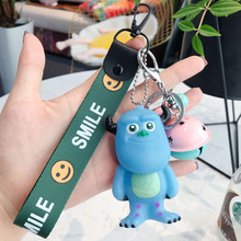 Cute Cartoon Monsters University Blue mob Keychain Car Key Holder Chain PVC Bell Anime Keyring Bag Pendant