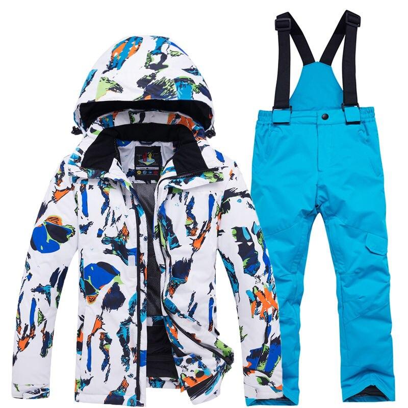 Costume de neige pour enfants garçon ou fille ensembles de snowboard tenue de sport en plein air imperméable manteau de Ski et sangle pantalon de neige Costume pour enfants - 2