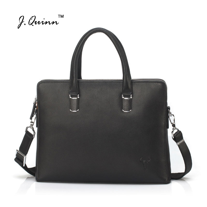 J.Quinn Men Leather Briefcases Bags Business Shoulder Crossbody Genuine Handbag Messenger Laptop Pack for Male Travel Mens Bag купить в Москве 2019